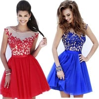 Blue Red Embroidered Mini Prom Dress Women Lace Cocktail Bridesmaid Party Dress = 1946616132