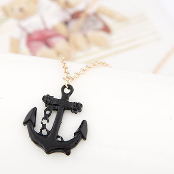 Adorn by LuLu - Naughty Nautical Black and Gold Anchor