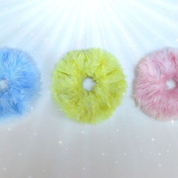 Cute Furry Pastel Hair Scrunchies Set, Kawaii Scrunchie - Choose Color - Clueless Fur Hair Band, Pink Blue Yellow Chouchou, Ponytail Holder