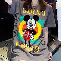 GUCCI & Disney New fashion mouse letter stripe print couple top t-shirt Gray
