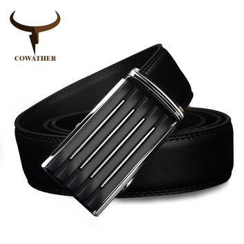 COWATHER Men`s casual genuine leather belt strap golden automatic buckle cinto masculino