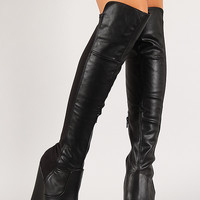 Mixed Media Platform Wedge Thigh High Boot