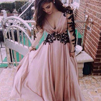 Vestido De Festa 2015 Elegant Plus Size Pink Prom Dresses with Long Sleeves Black Lace Appliques Corset Chiffon Prom Party Gowns