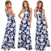 Women's Boho Floral Halter Dress Sleeveless Cocktail Party Dress Beach Sundress