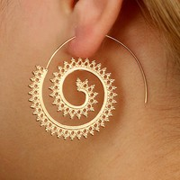Bohemian Spiral TriangleDrop Earrings