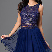 Navy Two-Piece Open-Back Lace-Top As U Wish Dress