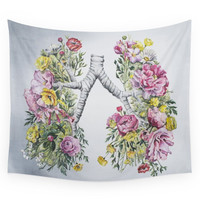 Society6 Floral Anatomy Lungs Wall Tapestry