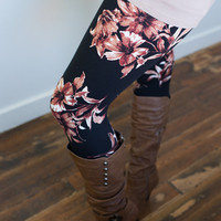 Magical Floral Leggings Black