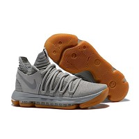 Nike Mens Kevin Durant KD 10 Light Gray Basketball Shoes