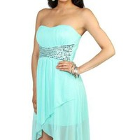 strapless sequin bodice tulip party dress with short high low skirt