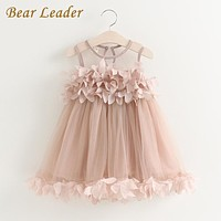 Girls Dress Mesh Girls Clothes Pink Applique Princess Dress Children Clothes Baby Girls Dress