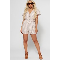 Minnie Striped Romper (Tan)