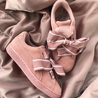 Puma SUEDE Heart Satin II Pink Shoes Casual Shoes 364084-01