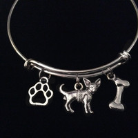 Chihuahua Dog Expandable Charm Bracelet Silver Adjustable Bangle Pet Lover Gift