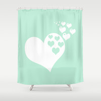 Mint Green Hearts of Love Shower Curtain by Beautiful Homes