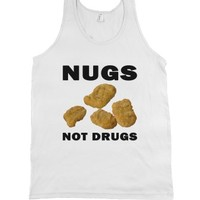 Chicken Nuggets-Nugs Not Drugs Wht Tank Top-Jh |