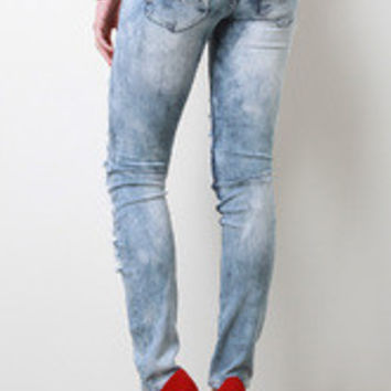 Regular Stress Distressed Skinny Jeans