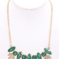Emerald High Polish Metal Lacquer Stones Cute Necklace