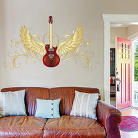 kcik523 Full Color Wall decal bass guitar music wings interument living room bedroom