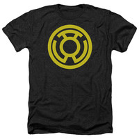 GREEN LANTERN/YELLOW EMBLEM - ADULT HEATHER - BLACK -