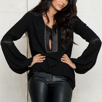 Black V-Neck  Long Sleeves Embellished  Blouse