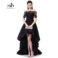 Hi Low Prom Dress Off The Shoulder Beautiful Dresses for teens Black Lace Prom Dresses Party Gown High Quality Robe De Soiree