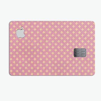 Micro Golden Diamonds Over Pink - Premium Protective Decal Skin-Kit for the Apple Credit Card