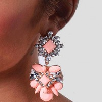 Bejewelled Peach Stone & Diamante Earrings | Pink Boutique