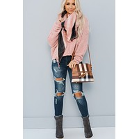 Magnetic Love Plaid Triangle Scarf (Dusty Pink)
