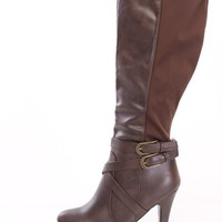 Brown Strappy Knee High Boots Faux Leather