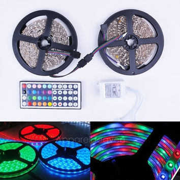 2x5M 3528 Waterproof SMD RGB 600LEDs LED Light Strip Lamp With IR Remote Controller AP = 1645783684