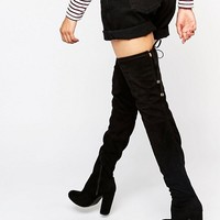 Boohoo Heeled Tie Back Over The Knee Boots at asos.com