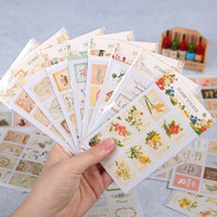 16 Pcs bag Creative Stationery Paper Decorative Sticker Retro Stamp Stickers Decor Scrapbook Album Stationery Sticker