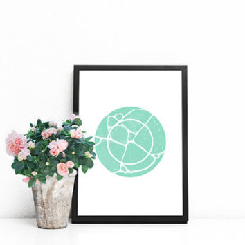 Zen decor, Mint print, Mint green wall decor, Zen wall art, Geometric wall art, Zen circle poster, Circle wall decor, Wall art for bedroom