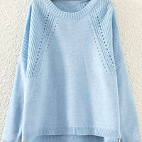 Blue Cut-Out Sweater