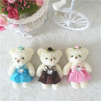 For Christmas Gift NEW 12CM 10pcs/lot pp cotton kid toys plush doll mini small teddy bear flower bouquets bear for wedding