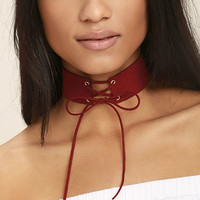 Come-Hither Rust Red Lace-Up Choker Necklace