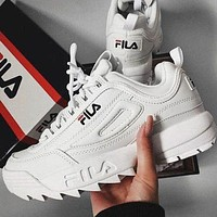 FILA classic thick-soled white shoes running shoes