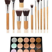 15 Color Contour Makeup Concealer Palette PLUS 11 PCS Bamboo Makeup Brush SET