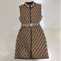 FENDI Summer Newest Fashion Women F Letter Print Zipper Dress