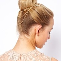 ASOS Leaf Hair Comb with Hanging Chain at asos.com