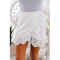 Always At My Best Eyelet Lace Wrap Skirt (White)