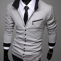 Stand Collar Slim Fit Cardigan With Pocket