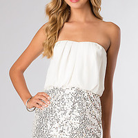 Stapless Short White Dress with Sequin Pencil Skirt by LA Glo