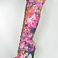 """Pink Floral Lace Up Thigh High Boot 6"""" Heel With Platform Sizes 6.5 - 7"""