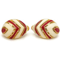 Red and Cream White Chevron Clip Earrings Striped Enamel Gold Tone Rounded Domed Oval Vintage Clip On Earrings