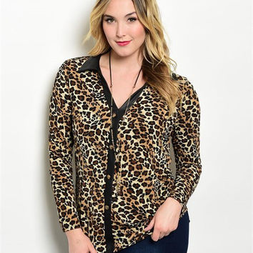 * Leopard Lovely Plus Size Top in Black/Brown
