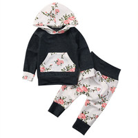 2pcs/sets 2017 Spring Autumn Floral Baby Clothes Sets Boys Girls Long Sleeve Hooded Pullover Tops+Pants New Infant Outfits Hot