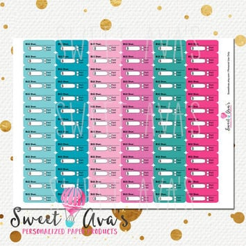 78 Sweet Party Colors Bills Due Planner Stickers / Erin Condren Planner Stickers / Organizing Calendar Stickers