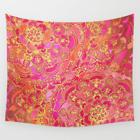 Hot Pink and Gold Baroque Floral Pattern Wall Tapestry by Micklyn